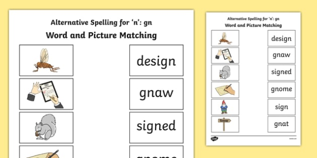 Gn Grapheme Phase 5 Alternative Spellings Word and Picture Matching Activity Sheet, worksheet