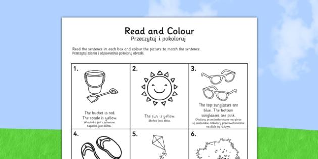 Summer Read and Colour Activity Sheet Polish Translation - polish, seasons, weather, reading, worksheet
