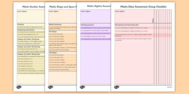 1999 Curriculum Senior Infants Maths Assessment Group Checklist Pack - assessment checklist, maths, senior infants, group