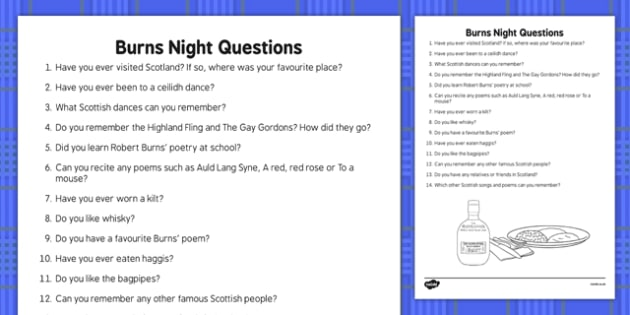 Burns Night Prompt Questions - Elderly, Reminiscence, Care Homes, Burns' Night