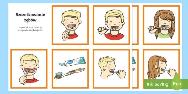 Karty do porządkowania Szczotkowanie zębów Polish-Polish - zęby, zębów, mycie, szczotkowanie, szczoteczka, pasta, zdrowie, higiena, jama ustna, jamy, biolog