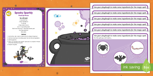Witch's Spell Playdough Recipe and Mat Pack