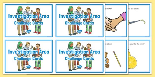 Investigation Area Challenge Cards - challenge cards, investigate