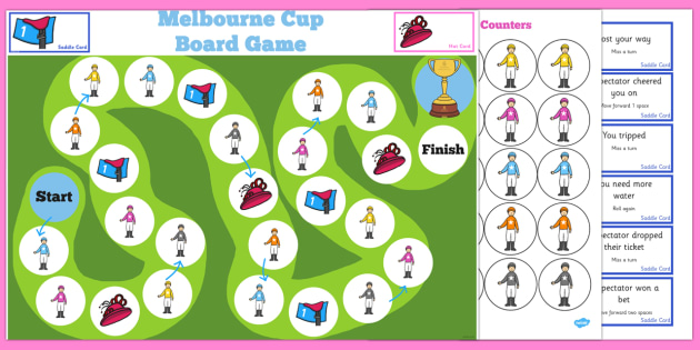 The Melbourne Cup Addition and Subtraction to 100 Board Game - australia, melbourne cup
