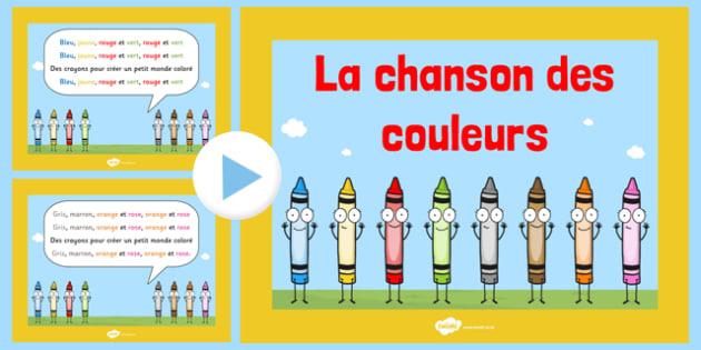 La chanson des couleurs Nursery Rhyme PowerPoint French - french, la chanson, des couleurs, nursery rhyme, powerpoint