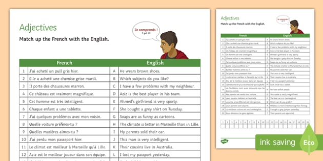 French Adjectives Match-Up Activity Sheet-French