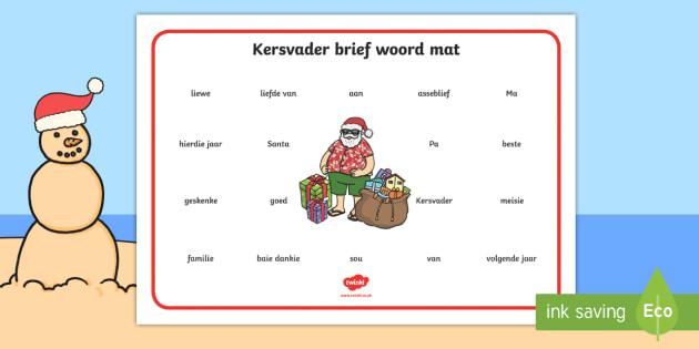 Kersvader brief woord mat  - Kersvader brief woord mat, woord mat, brief, kersfees, einde van die jaar, woordeskat