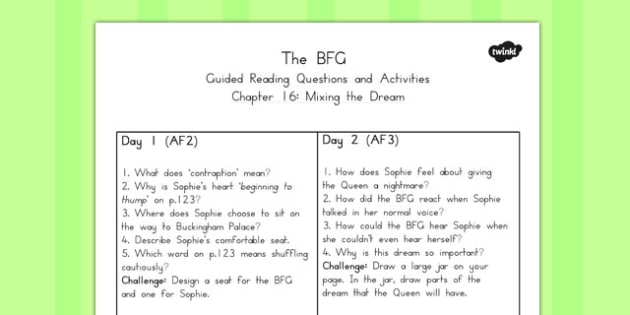 Guided Reading Questions Chapter 16 to Support Teaching on The BFG - australia, bfg, guided reading