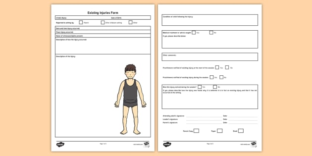 Existing Injuries Record Form - safeguarding, accident form, preexisting injury, preexisting injuries, child protection