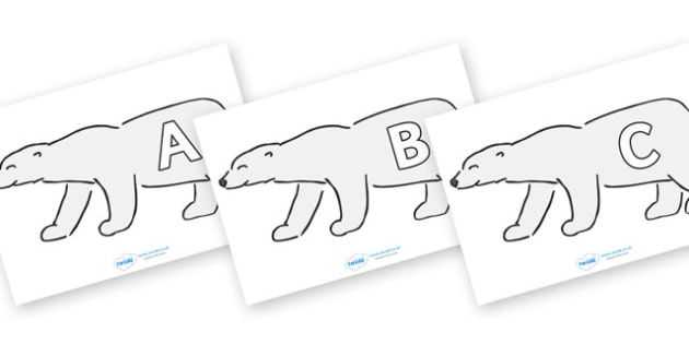 A-Z Alphabet on Polar Bears - A-Z, A4, display, Alphabet frieze, Display letters, Letter posters, A-Z letters, Alphabet flashcards