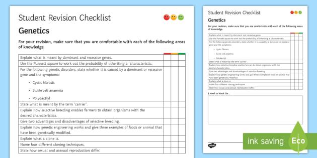Genetics Student Revision Checklist - Student Progress Sheet (KS3), genetics, dominant, recessive, inherited disorders, Punnett square