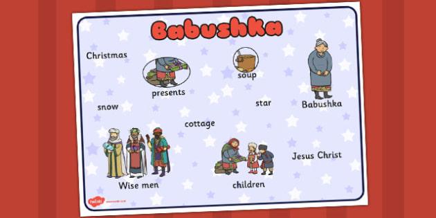 Babushka Word Mat - babushka, word, story, word mat, christmas