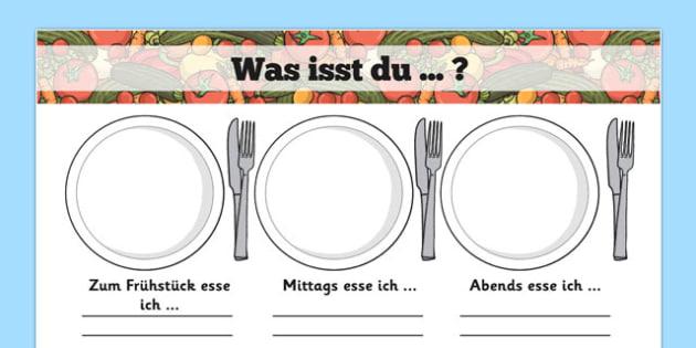 Was isst du ... ? Meal Time Writing Templates German - german, meal time, writing frame, template, Lunchtime, dinner, breakfast, tea