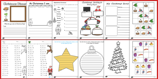 Christmas Holiday Homework Activity Pack - ks1, christmas, holiday, ks1