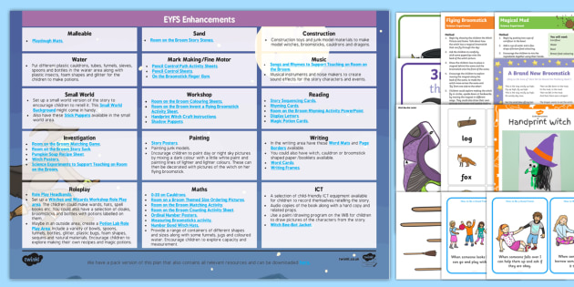 EYFS Enhancement Ideas and Resources Pack to Support Teaching on Room on the Broom - Early Years, continuous provision, early years planning, adult led, Julia Donaldson, witch, magic, Halloween, planning