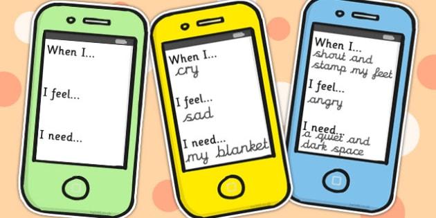 Emotions Phone Text Cards - Emotions, Phone, Text, Cards, Happy
