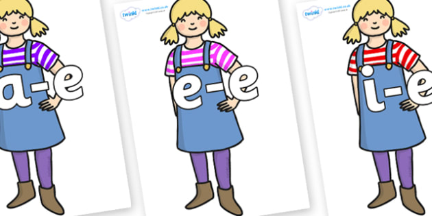 Modifying E Letters on Little Girl - Modifying E, letters, modify, Phase 5, Phase five, alternative spellings for phonemes, DfES letters and Sounds