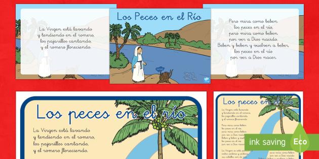 Pack de actividades:  Los Peces en el Río  - Villancico, canción, Navidad, presentación, marionetas de palo, póster, decorar.,Australia