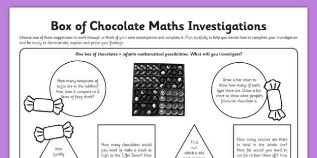 Box of Chocolate Maths - chocolate, celebrations, tub, calories, investigation