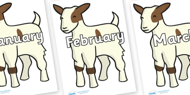 Months of the Year on Baby Goats - Months of the Year, Months poster, Months display, display, poster, frieze, Months, month, January, February, March, April, May, June, July, August, September