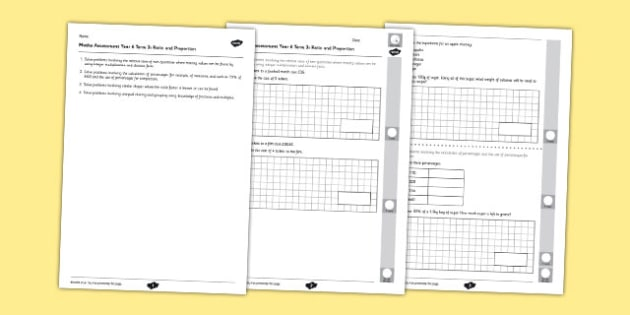 Year 6 Maths Assessment Term 3 Ratio and Proportion - maths, ks2, sats, numbers
