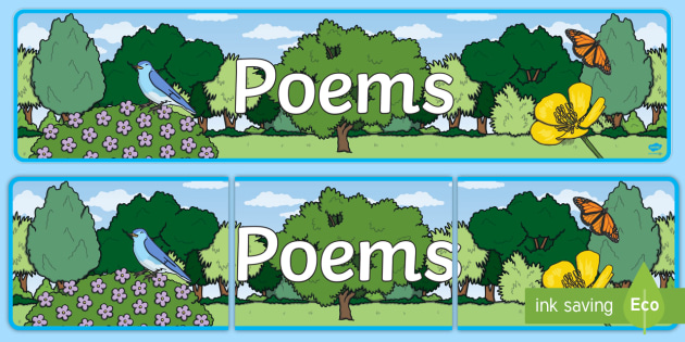 Poems Display Banner - Display banner, poetry, poem, literacy, writing, independent writing, display, banner, poetry display, poem display