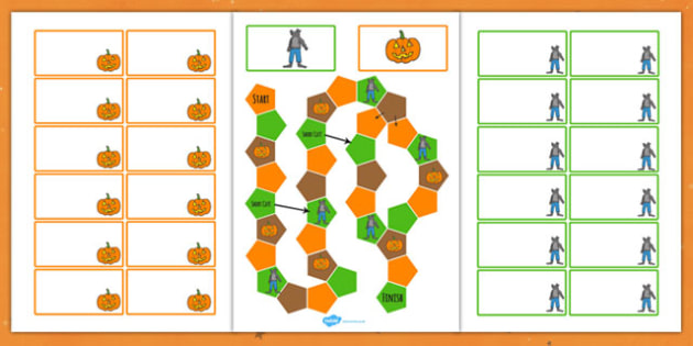 Halloween Themed Editable Board Game Colour - Halloween, Game