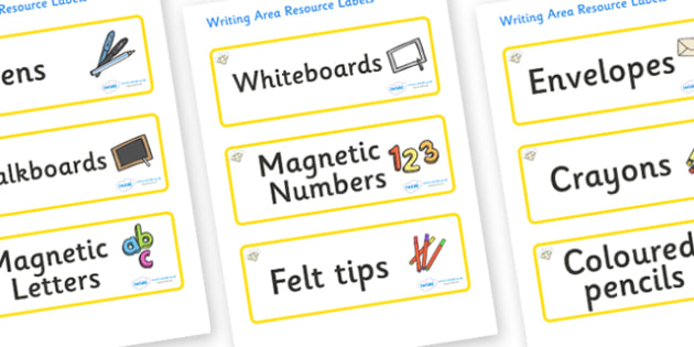 Topaz Themed Editable Writing Area Resource Labels - Themed writing resource labels, literacy area labels, writing area resources, Label template, Resource Label, Name Labels, Editable Labels, Drawer Labels, KS1 Labels, Foundation Labels, Foundation
