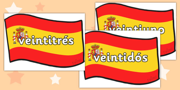 Spanish Numbers 21-31 Posters - spanish number posters, spanish number words, spanish numbers, spanish language, languages, spanish numbers to 31 on flags