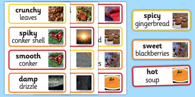Autumn Senses Word Cards - autumn, senses, word cards, word, cards, season