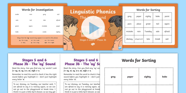 Northern Ireland Linguistic Phonics Stage 5 and 6 Phase 3b, 'ay' Sound PowerPoint  - word sort, investigation, search, Northern Ireland