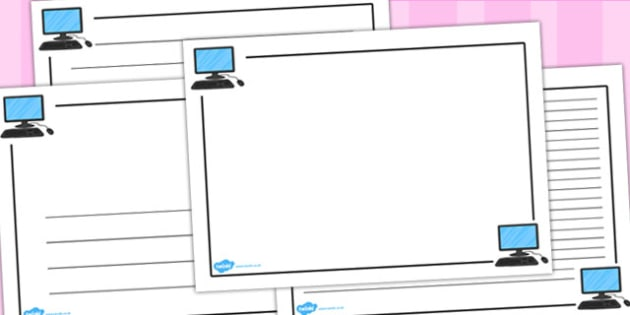ICT Page Borders (Landscape) - page border, border, frame, writing frame, writing template, ICT, ICT page borders, landscape ICT page borders, internet, online, computer, computer page borders, writing aid, writing, A4 page, page edge, writing activi