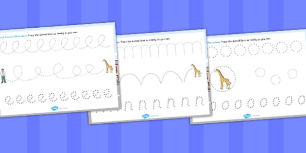 Giant Themed Pencil Control Worksheets - worksheet, controls