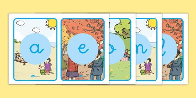 El tiempo y las estaciones del año Tarjetas de fonemas-Spanish