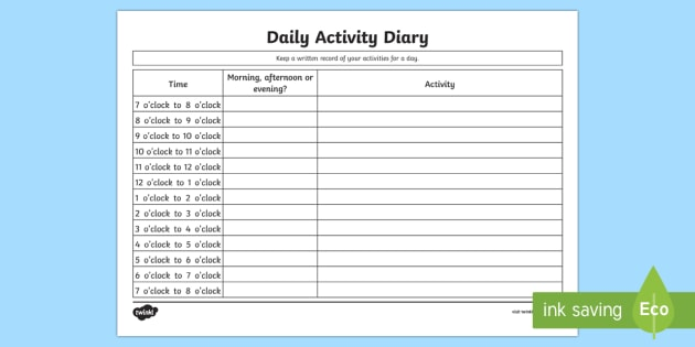 Daily Activity Diary Activity Sheet - Measurement, measures, telling the time, measuring time in hours, diary, worksheet
