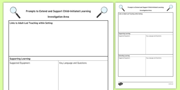 Investigation Area Adult Support Prompt Sheet Template - EYFS Continuous Provision Plans, enhancements