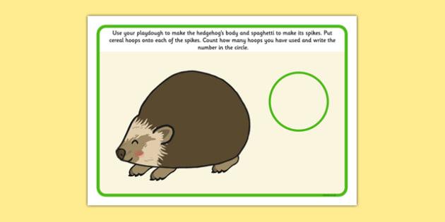 Hedgehog Playdough Mat - hedgehog, spikes, count, scissors, glue, cutting, sticking, counting, numbers, maths