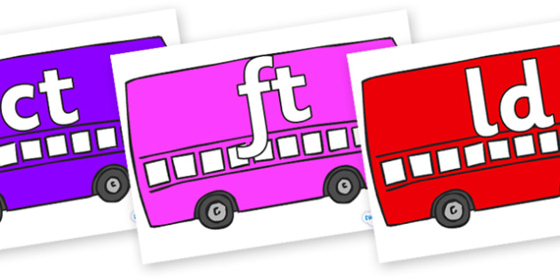 Final Letter Blends on Buses - Final Letters, final letter, letter blend, letter blends, consonant, consonants, digraph, trigraph, literacy, alphabet, letters, foundation stage literacy