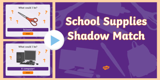 School Supplies Shadow Match PowerPoint
