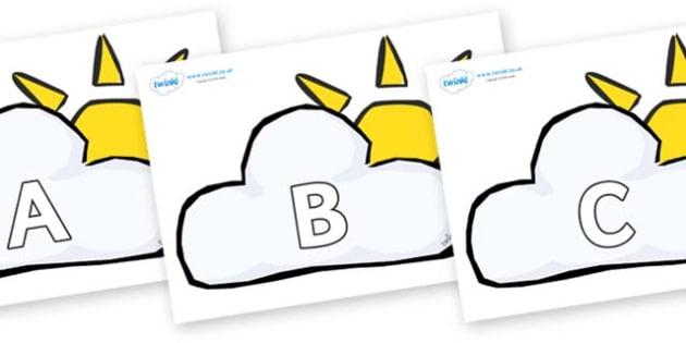 A-Z Alphabet on Weather Symbols (Cloud & Sun) - A-Z, A4, display, Alphabet frieze, Display letters, Letter posters, A-Z letters, Alphabet flashcards