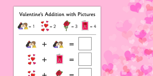 Valentine's Day Themed Addition with Pictures Activity Sheet Pack - valentines day, themed, addition, pictures, activity, sheets, worksheet