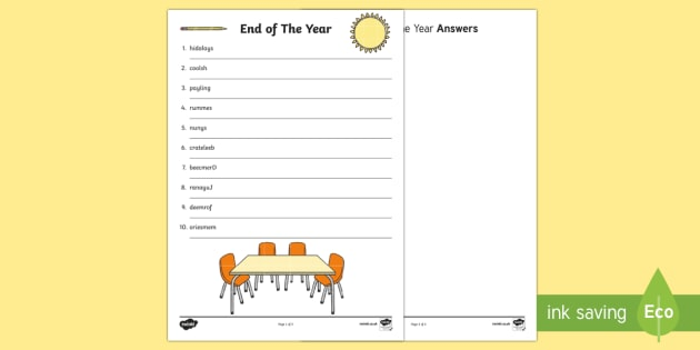 End of Year Word Scramble Activity Sheet