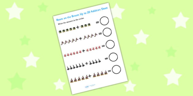 Up to 20 Addition Sheet to Support Teaching on Room on the Broom - room on the broom, up to 20, addition sheet, addition, plus, adding, addition worksheet, themed addition