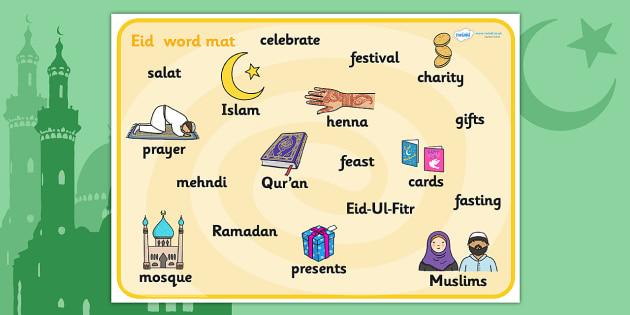 Eid Topic Word Mat - Eid, festival, celebration, Islam, muslim, word cards, flashcards, Eid, Eid-Ul-Fitr, Quran, Salat, henna, fasting, pilers of islam