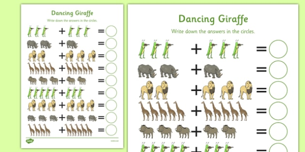 Dancing Giraffe Themed Up to 10 Addition Sheet - Giraffes Can't Dance, adding, sums, counting, EYFS, ten, jungle