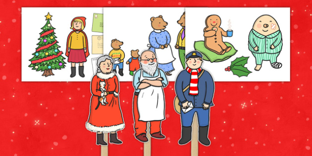 Stick Puppets to Support Teaching on The Jolly Christmas Postman - the jolly christmas postman, stick puppets, the jolly postman stick puppets, christmas stick puppets