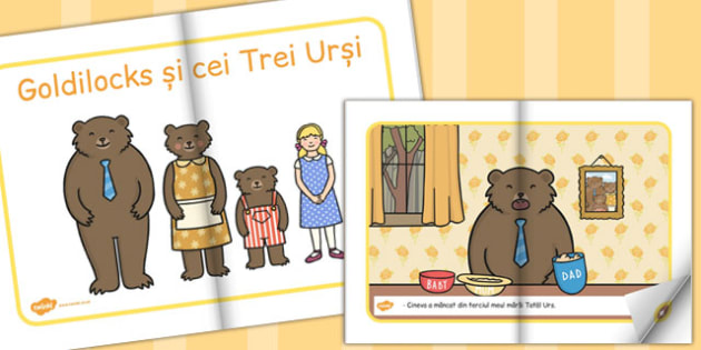 Goldilocks si cei Trei Ursi, rezumat, imagini, poveste ilustrata, Romanian