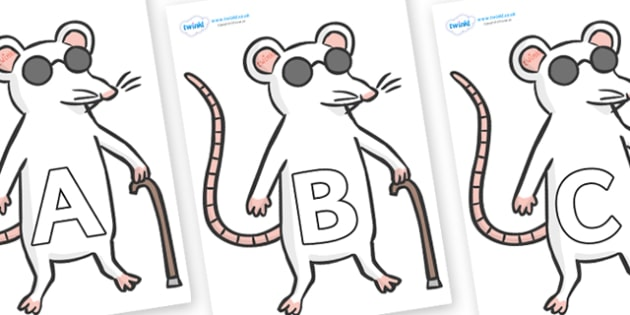 A-Z Alphabet on Blind Mice - A-Z, A4, display, Alphabet frieze, Display letters, Letter posters, A-Z letters, Alphabet flashcards