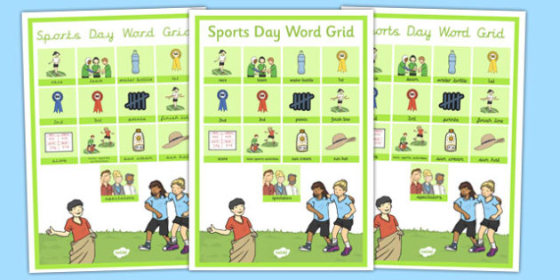Sports Day Word Grid - sports day, word grid, word, grid, sports