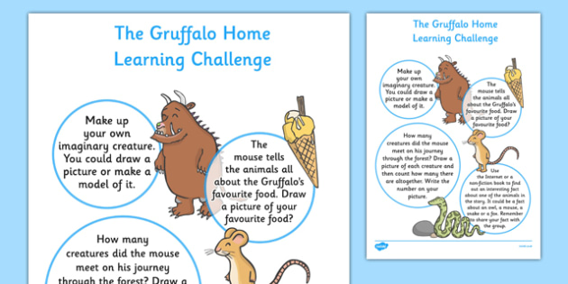 EYFS Home Learning Challenge Sheet to Support Teaching The Gruffalo Nursery FS1 - EYFS, homework, Early years, Julia Donaldson